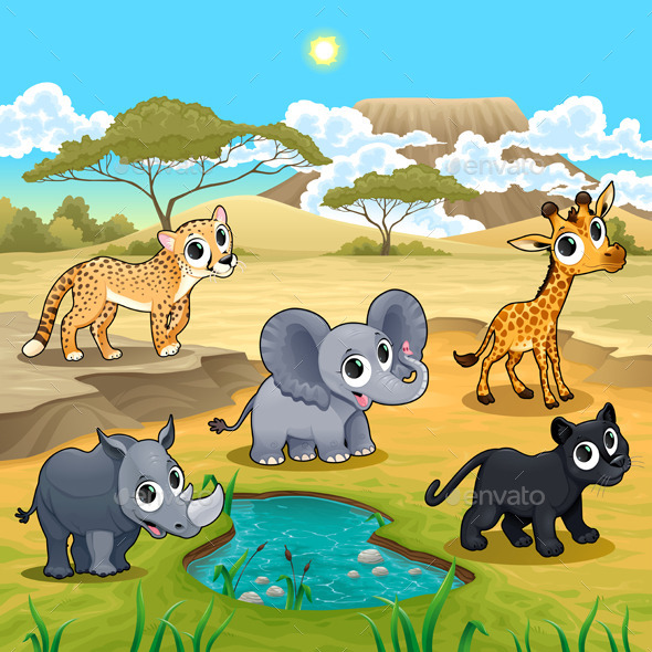 GraphicRiver Set of Wild Animals in Nature 11802007