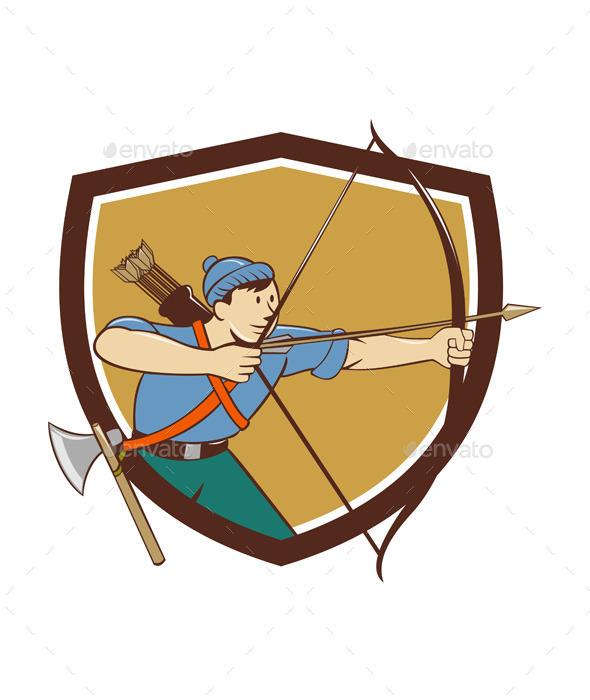 GraphicRiver Archer Aiming Long Bow Arrow Cartoon Crest 11802010