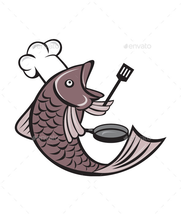 GraphicRiver Fish Chef Holding Spatula and Frying Pan Cartoon 11802013
