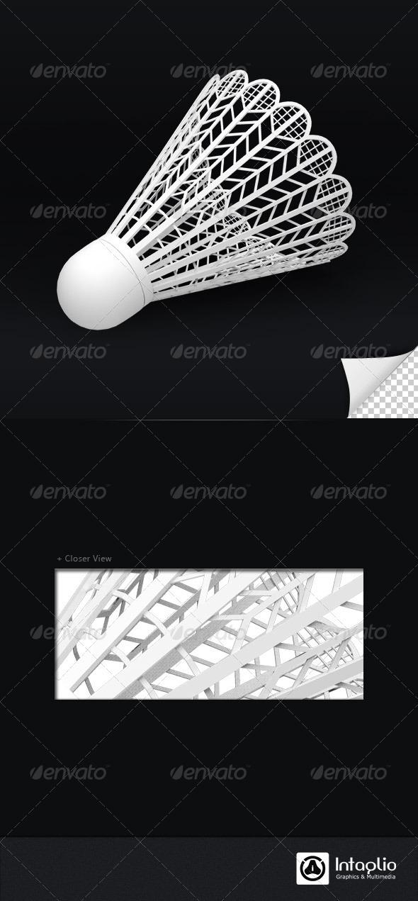 Shuttlecock 3D Render