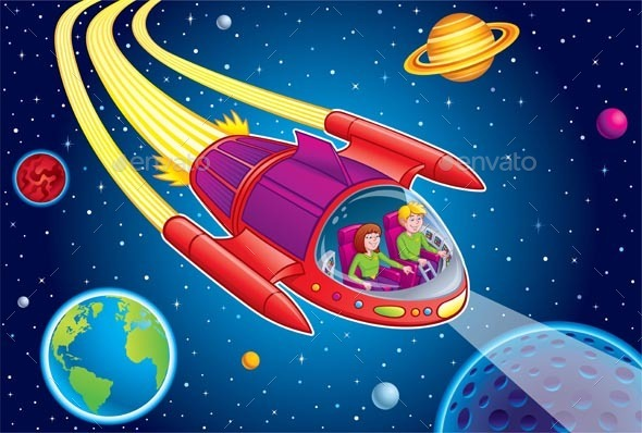 GraphicRiver Teens Blasting Through Outer Space 11802854