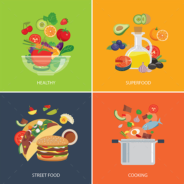 GraphicRiver Set of Flat Design Concept for Food 11802913