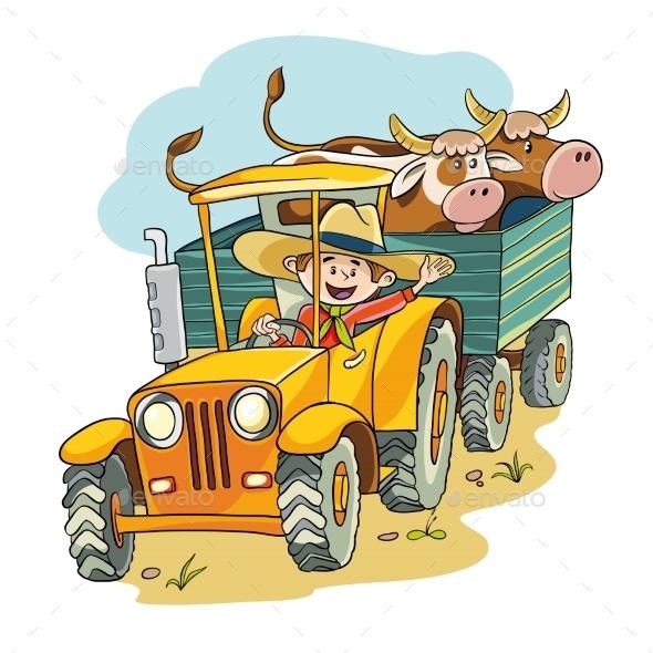 GraphicRiver Farmer in Tractor 11803403