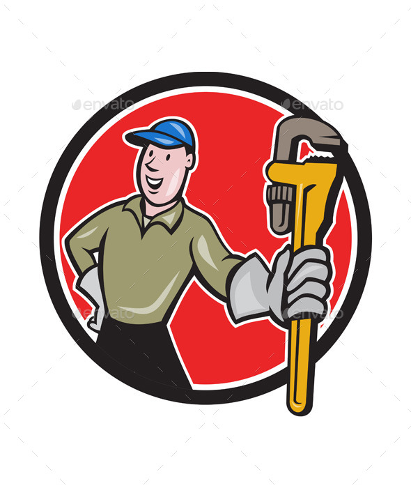 GraphicRiver Plumber Presenting Monkey Wrench Circle Cartoon 11803788
