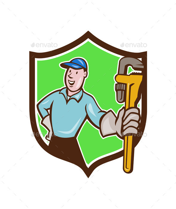 GraphicRiver Plumber Presenting Monkey Wrench Shield Cartoon 11803801