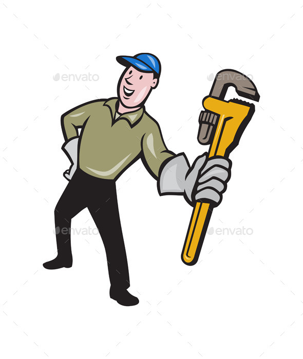 GraphicRiver Plumber Presenting Monkey Wrench Isolated Cartoon 11803808