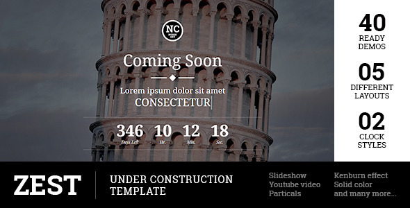 ThemeForest Zest Under Construction Template 11668760