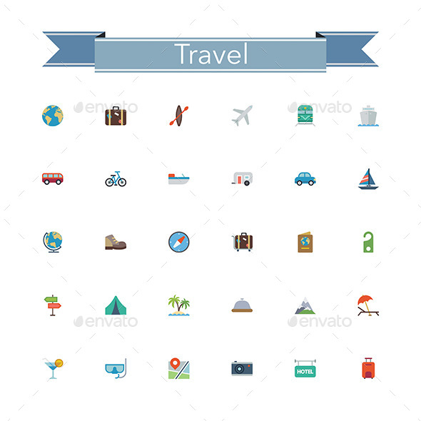 GraphicRiver Travel Flat Icons 11804981