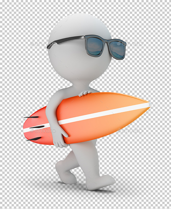 GraphicRiver 3D Small People Walk with a Surfboard 11804988