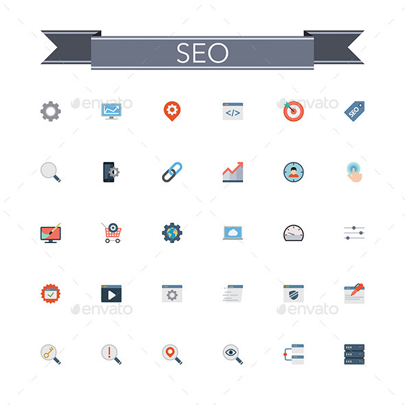 GraphicRiver SEO Flat Icons 11805032