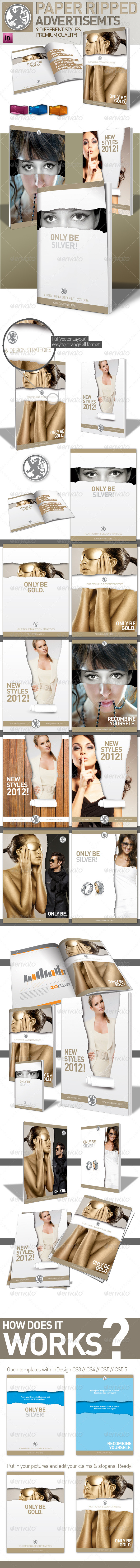 GraphicRiver InDesign Magazine Paper Ripped Ad 9 Variations 1186386