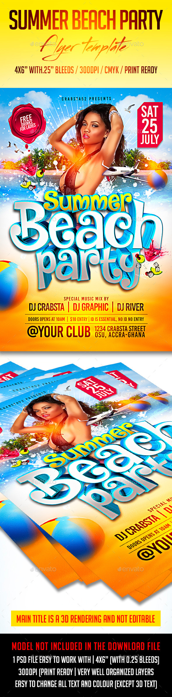 GraphicRiver Summer Beach Party Flyer Template 11805897