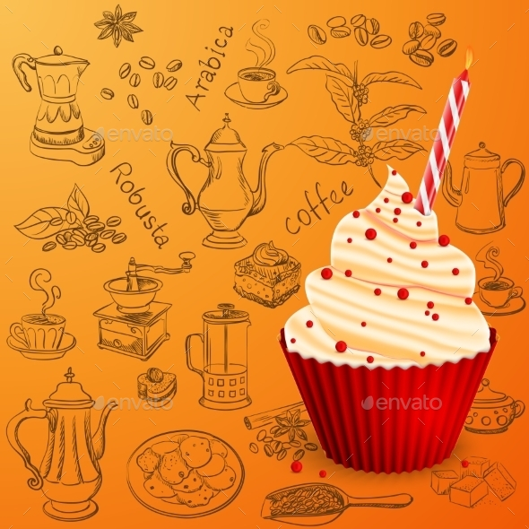 GraphicRiver Hand Drawn Coffee Collection With Birthday Cake 11807887