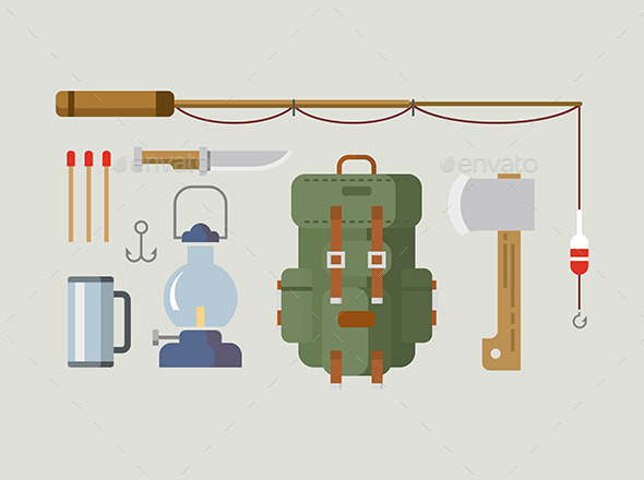 GraphicRiver Fishing Hunting Items Flat Design 11808013