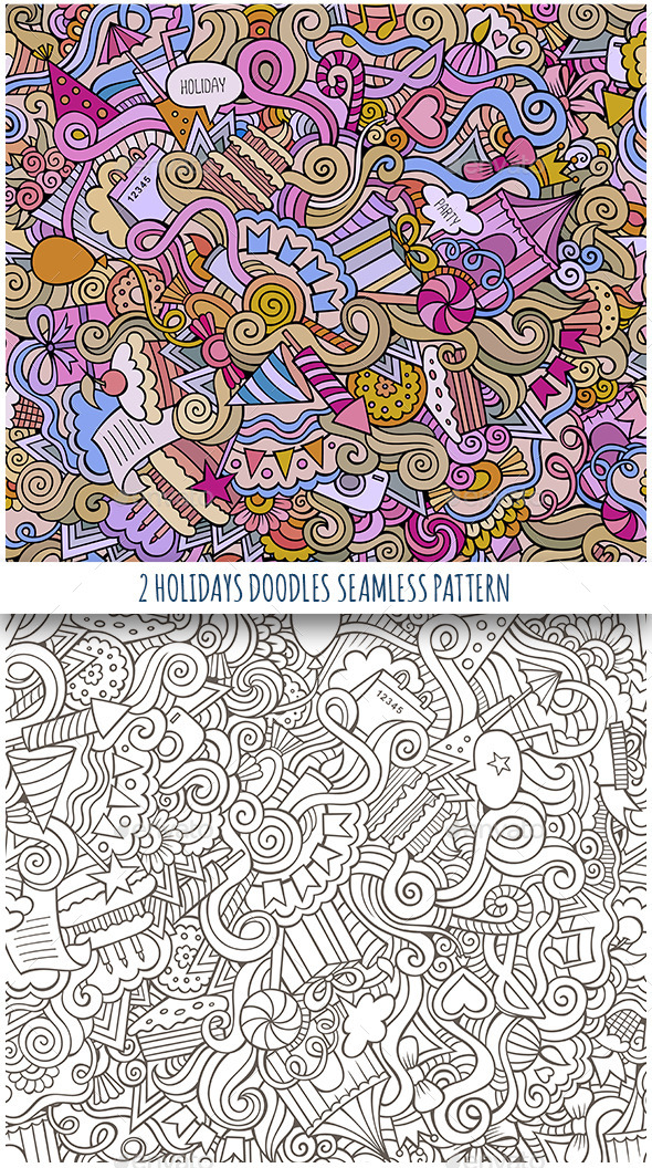 GraphicRiver 2 Holiday Doodles Seamless Pattern 11808836