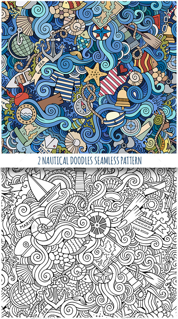 GraphicRiver 2 Nautical Doodles Seamless Patterns 11808851