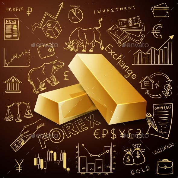 GraphicRiver Two Gold Nuggets And Exchange Doodle Icon 11809096