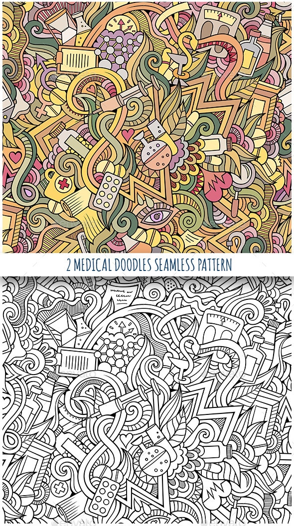 GraphicRiver 2 Medical and Health Doodles Seamless Patterns 11809119