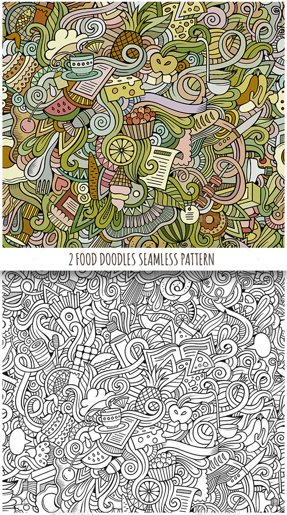 GraphicRiver 2 Food Doodles Seamless Pattern 11809211
