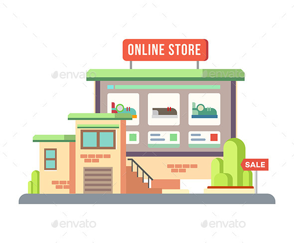 GraphicRiver Online Shop Building Flat Design 11809223