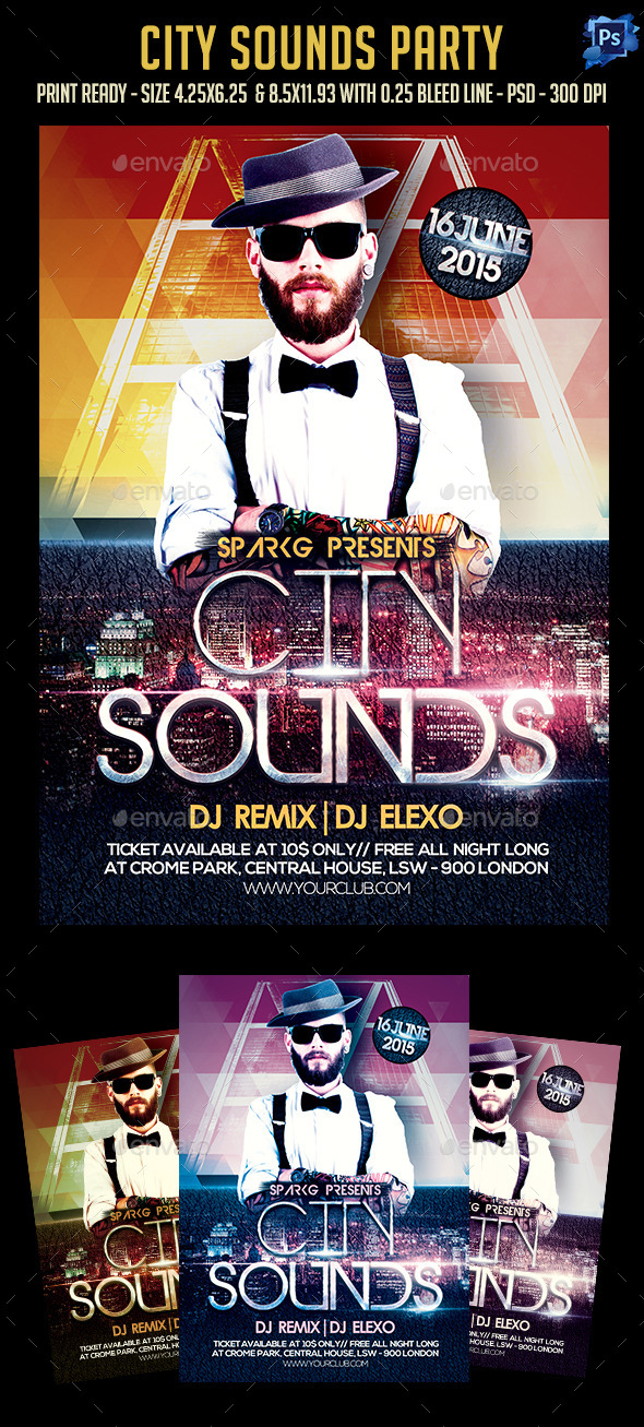 GraphicRiver City Sounds Party Flyer 11809394