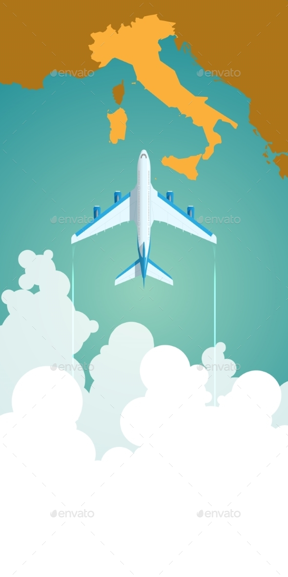 GraphicRiver Airplane Flying Through Clouds Above The Map 11809549
