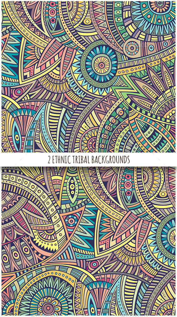 GraphicRiver 2 Ethnic Tribal Backgrounds 11809623