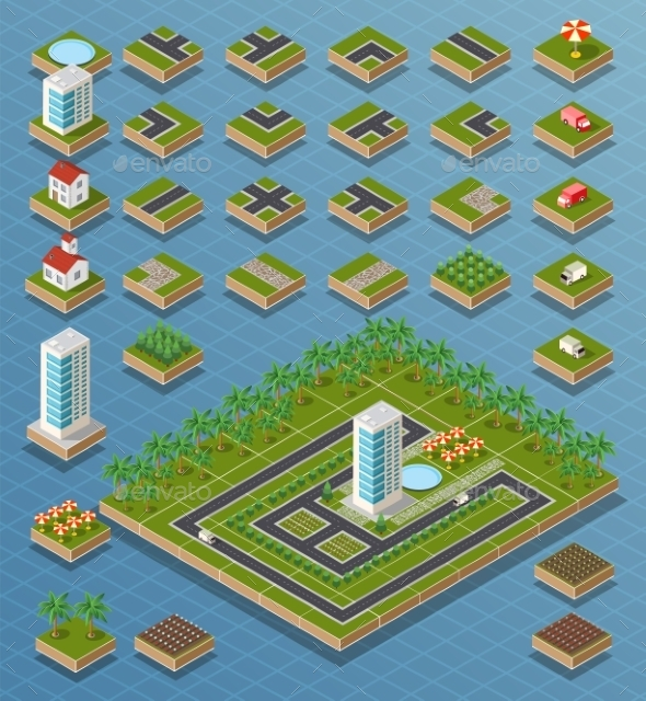 GraphicRiver Isometric City Set 11809641