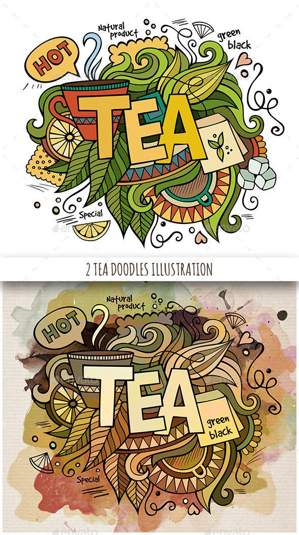 GraphicRiver 2 Tea Doodles Designs 11809793