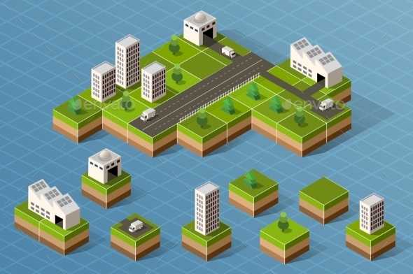 GraphicRiver Set Of Isometric City 11809840