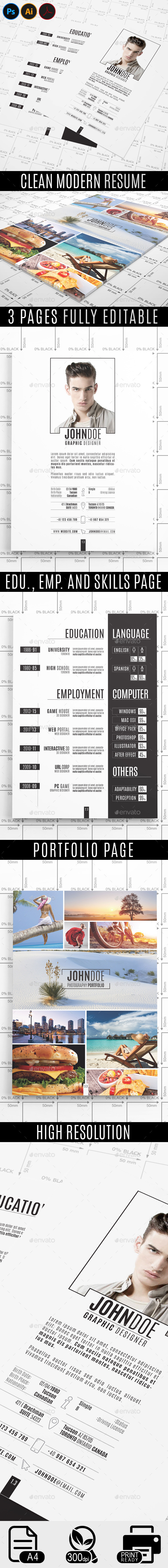 GraphicRiver Clean Modern Resume 11809922