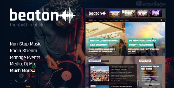 ThemeForest Beaton Music Radio & Events WordPress Theme 11581259
