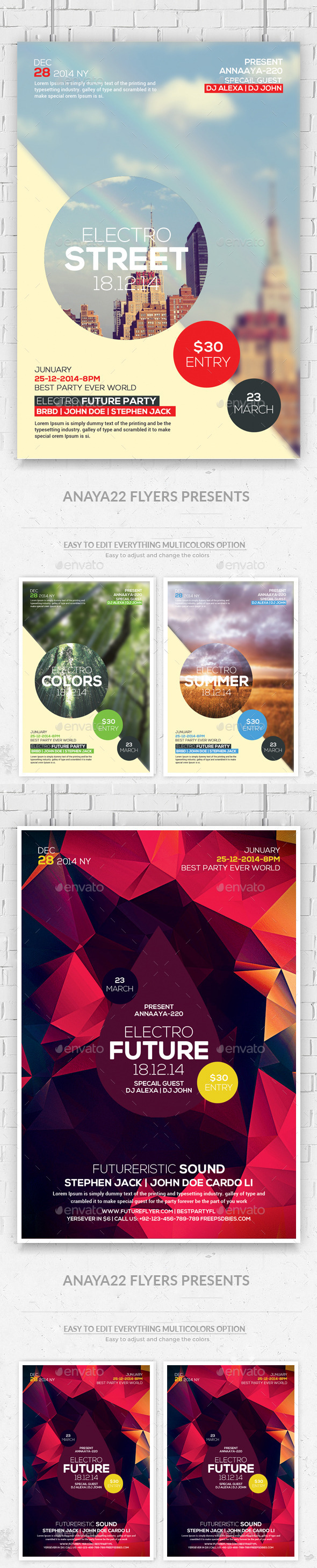 GraphicRiver Hipster Party Flyers Bundle 11810002