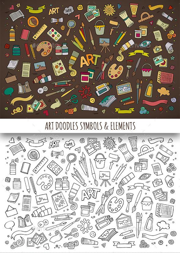GraphicRiver Hand Drawn Art Doodles Symbols 11810342