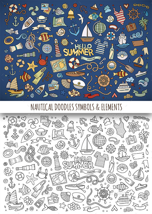GraphicRiver Hand Drawn Nautical Doodles Symbols 11810355
