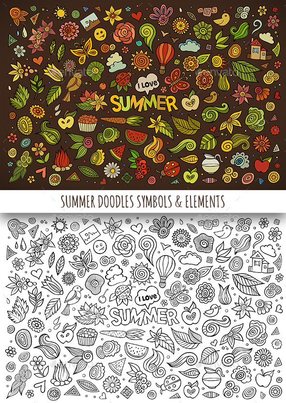GraphicRiver Hand Drawn Summer Nature Doodles Symbols 11810392