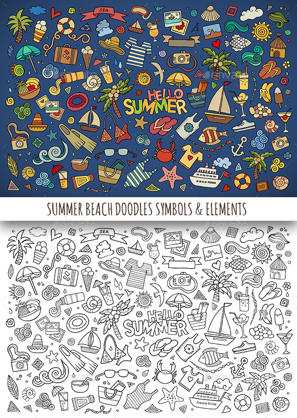 GraphicRiver Hand Drawn Summer Beach Doodles Symbols 11810416