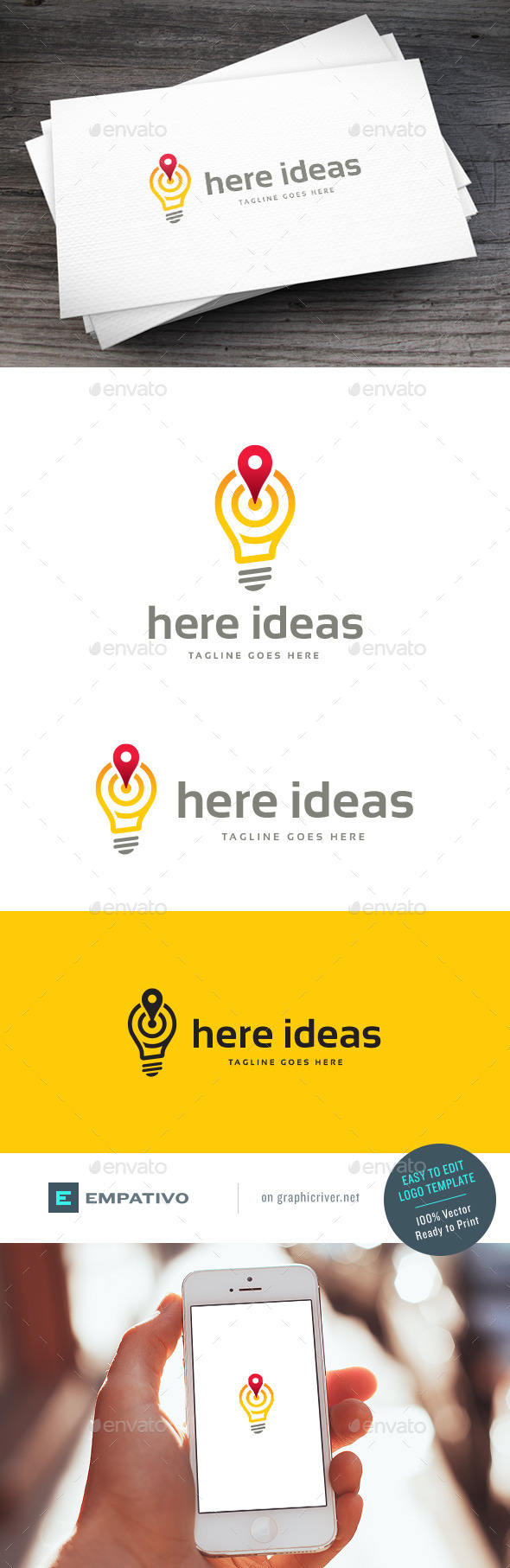 GraphicRiver Here Ideas Logo Template 11810604