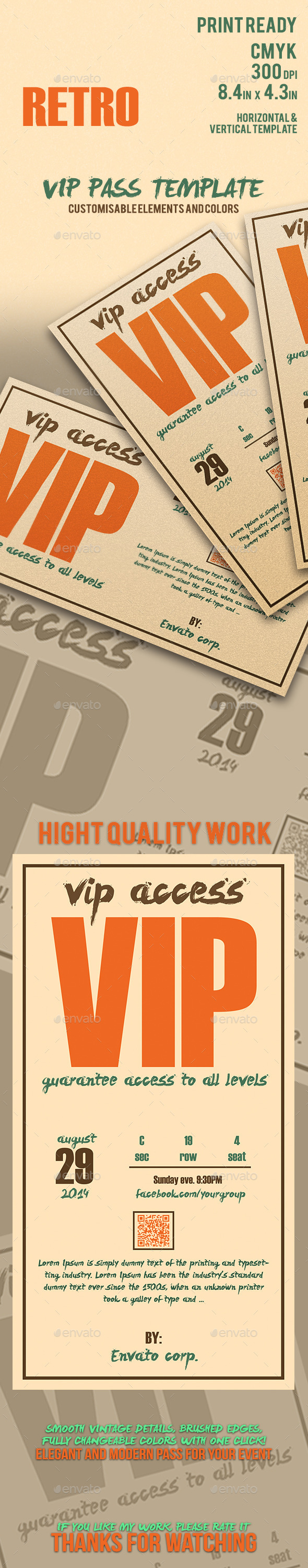 GraphicRiver Retro Elegant Vip Pass Template 11810842