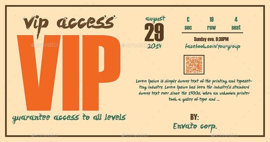 Retro Elegant Vip Pass Template by Tzochko – Vip Ticket Template