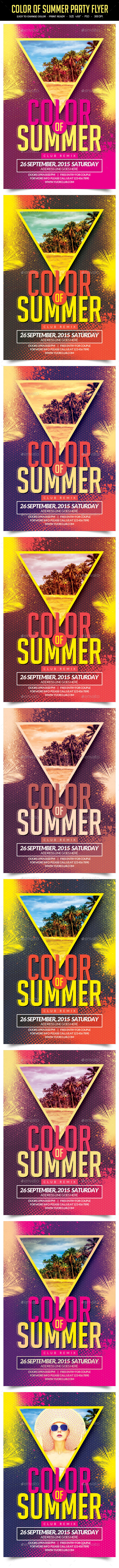 GraphicRiver Color Of Summer Party Flyer 11811751
