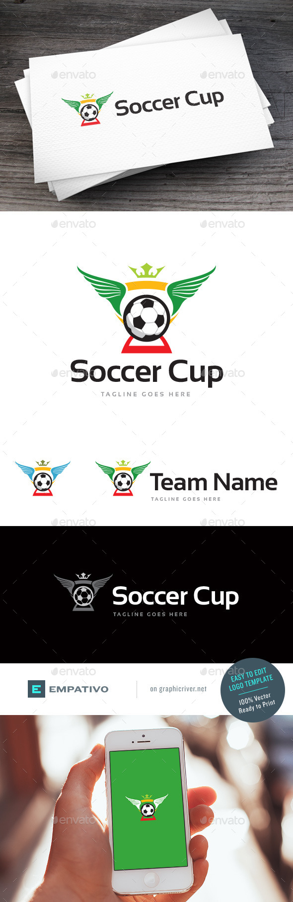 GraphicRiver Soccer Cup Logo Template 11580610
