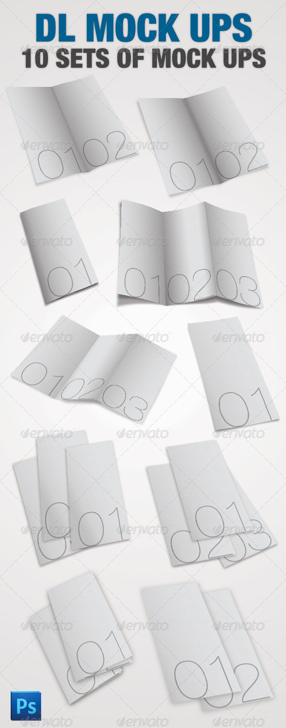 10 DL Leaflet Mock-ups Photoshop