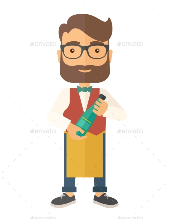 GraphicRiver Wine Maker Holding a Bottle of Wine 11812143