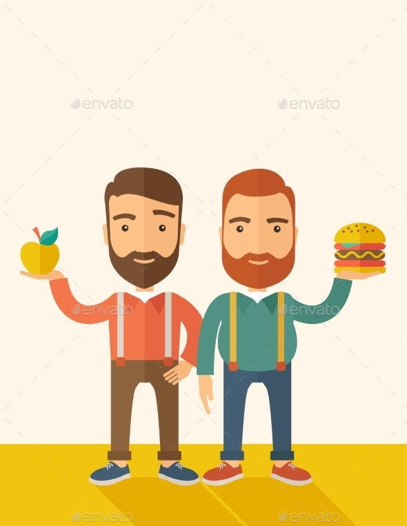 GraphicRiver Two Businessmen Comparing Apple To Hamburger 11812191