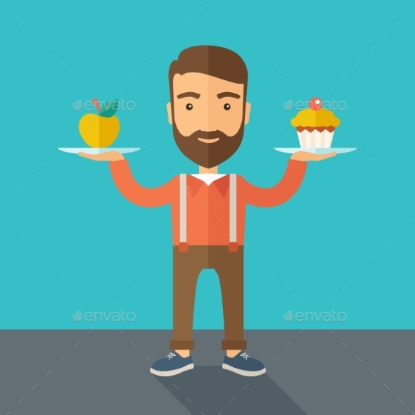 GraphicRiver Man Carries Cupcake and Apple 11812195