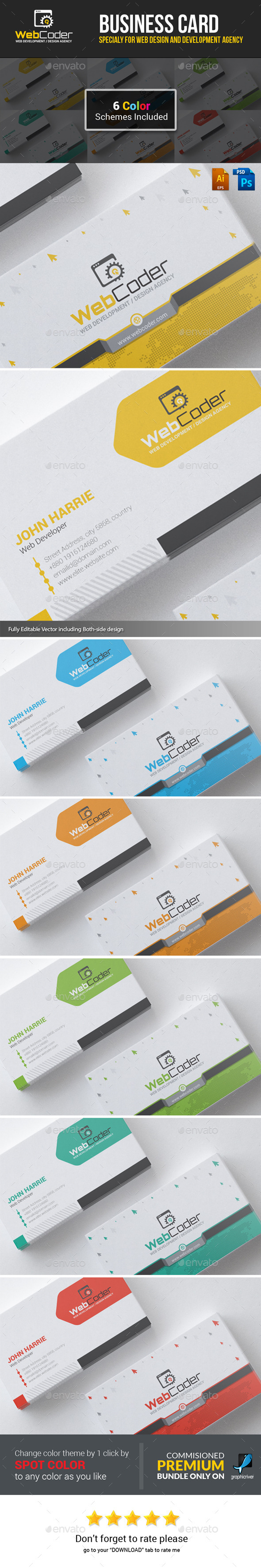GraphicRiver Web Coder Web Design Agency Business Cards 11812755