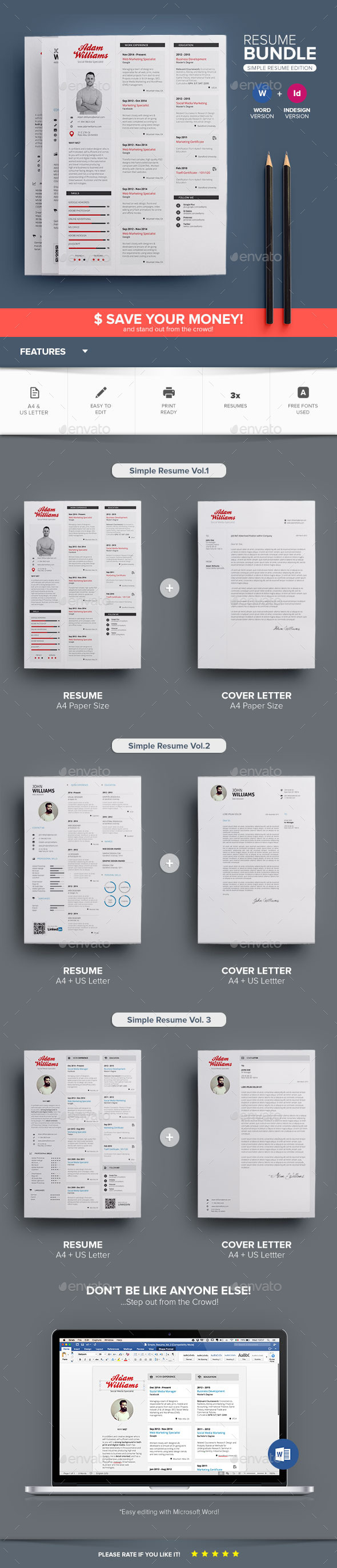 GraphicRiver Simple Resume Bundle 11812775