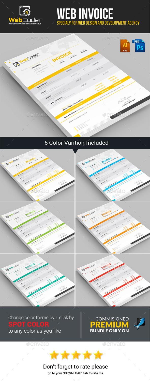 GraphicRiver Web Coder Web Design Agency Invoice Template 11812833