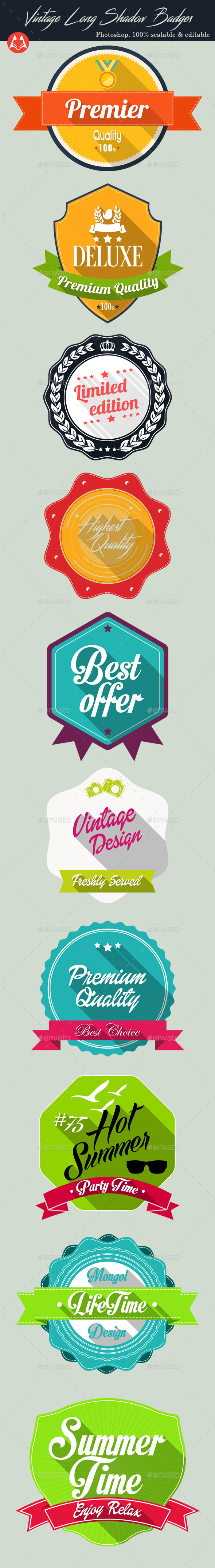 GraphicRiver Vintage Long Shadow Badges 11813019